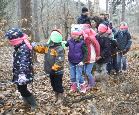 Children in woods blindfolded