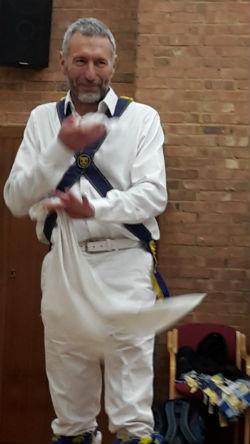 Dancing Morris Man visits woodcraft