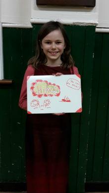 girl holding woodcraft whiteboard